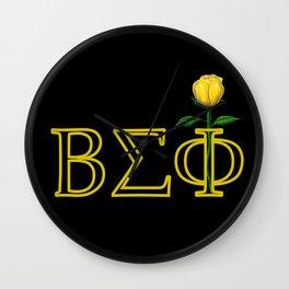 ΒΣΦ with a Long Stem Yellow Rose on Black (BSP) Wall Clock