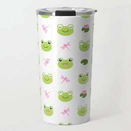 Frogs, Dragonflies and Lilypads on White Travel Mug