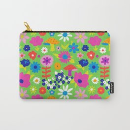 60's Country Mushroom Floral in Neon Green Carry-All Pouch