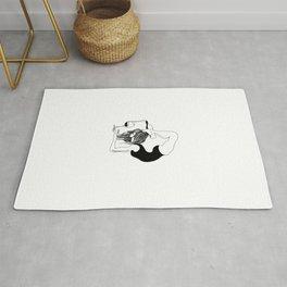 funny black and white yoga wine print, yoga woman, yoga gift, drawing, balance, modern, yogi, yogini Rug