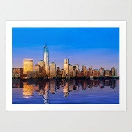 Reflection of Manhattan skyline at sunset Art Print