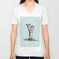 bambi V-neck T-shirts featuring Bambi by Monika Strigel