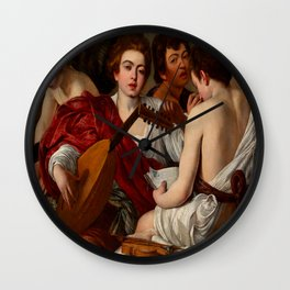 Caravaggio (Michelangelo Merisi - Italian, 1571-1610) - The Musicians or Concert of Youths (I Musici o Concerto) - Date: 1597 - Style: Baroque, Tenebrism - Media: Oil on canvas - Digitally Enhanced Version (1600 dpi) - Wall Clock