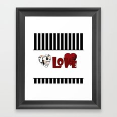 Valentine's day . Love. Black and white striped background . 2 Framed Art Print