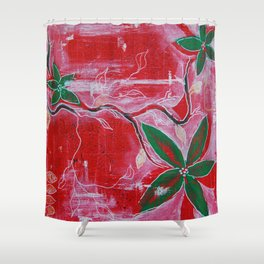 Red and green foliage fine art painting 2 of 3 Shower Curtain