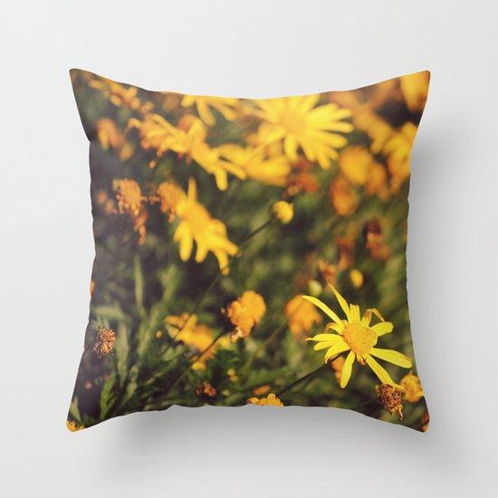 Sigue el camino de margaritas amarillas Throw Pillow