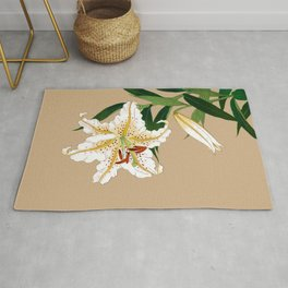 Vintage Japanese Lilly. White, Green and Beige Rug