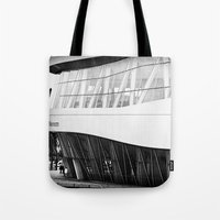mercedes Tote Bags featuring MERCEDES-BENZ MUSEUM by GL-ART-PHOTOGRAPHY