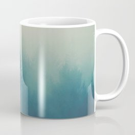 Misty Turquoise Blue Pine Forest Foggy Parallax Tree Landscape Silhouette Coffee Mug