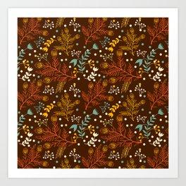 Elegant fall orange yellow teal brown floral polka dots Art Print