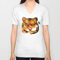 tigers V-neck T-shirts featuring 2 Tigers by Chawalit Jitsanorh