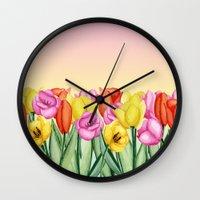 tulips Wall Clocks featuring Tulips by Julia Badeeva