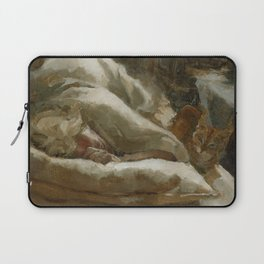 Morning Visitor Oil Painting Interior Sleeping Woman with Cat Laptop Sleeve