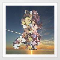 Pixel Leaves 2 Art Print