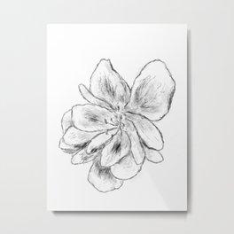 Sketchy Malva Flower Drawing Metal Print