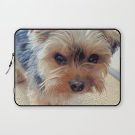 Yorkie | Dogs | Terrier | Pets | Humor | What!?! (with text) Laptop Sleeve