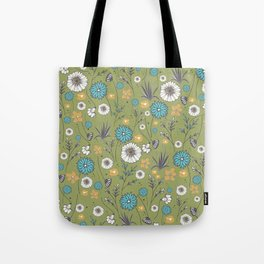 Emma_Wildflowers in Avocado Green Tote Bag
