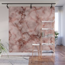 Pink and Copper Rose Veined Faux Marble Repeat Wall Mural