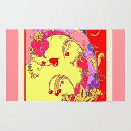 Red Hearts Gold Color Fantasy Scrolls & Flowers Ferns Art Pattern Rug