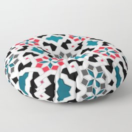 Oriental Pattern - Geometric Design, red / blue / grey Floor Pillow