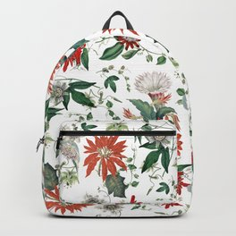 Festive Red Green Botanical Poinsettia Cactus Floral Pattern Backpack