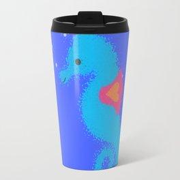 Blue Cartoon Seahorse Travel Mug