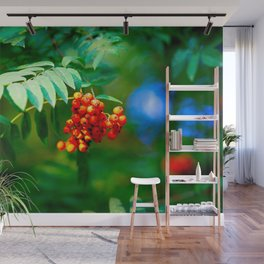Red Ashberries Green Tree. Floral Beauty Of The Summer Season Wall Mural