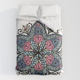 Mandala pink and blue Comforters