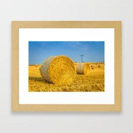 Haye bale in the harvest time Framed Art Print