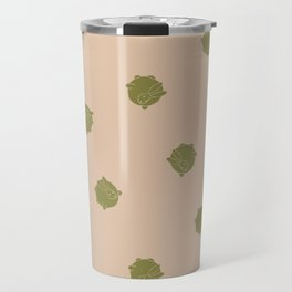 Round Bunny Pattern- Brown Tan Travel Mug