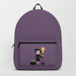 Cute Witch Girl And A Black Cat Halloween Design Backpack