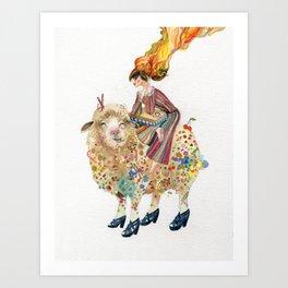 The sheep and the princess Art Print