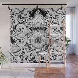 Hamsa Hand -Hand of Fatima grayscale Wall Mural