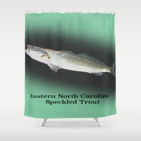 trout Shower Curtains featuring Dad's Speckled trout by Kyle Ellsworth