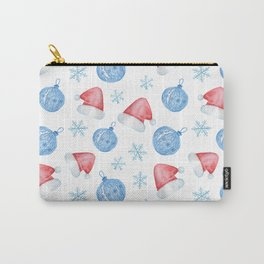 Watercolor Christmas pattern of Christmas balls, red caps and snowflakes Carry-All Pouch