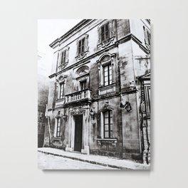 Building in Valletta-B&W Metal Print