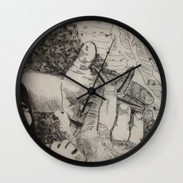 Touching the Pulse of the Gulf  (Boy and starfish at the Gulf beach) Wall Clock