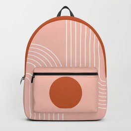 Geometric Lines in Rose Gold and Terracotta (Rainbow Moon Abstract) Backpack