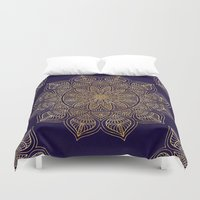 xbox Duvet Covers featuring Gold Mandala by Mantra Mandala