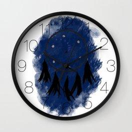 Dreamcatcher crow: Blue background Wall Clock