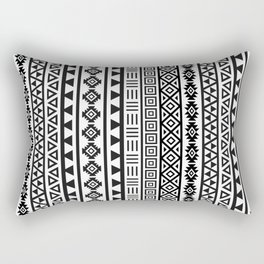 Aztec Influence Pattern II Black on White Rectangular Pillow