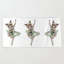 Siamese Ballerina in Cat Ballet  Beach Towel