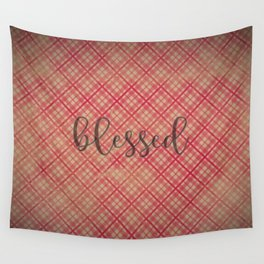 Blessed on Red & Khaki Plaid Wall Tapestry
