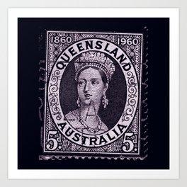 Queensland Stamp Art Print