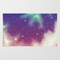 8bit Area & Throw Rugs featuring Rainbow Nebula (8bit) by Sarajea