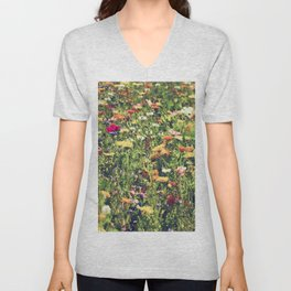 Happy summer meadow vintage style Unisex V-Neck