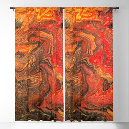 Fluid Art Acrylic Painting Pour 24, Red, Yellow, Orange & Black Blended Color Blackout Curtain