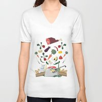 meat V-neck T-shirts featuring MEAT DİNNER by Ceren Aksu Dikenci