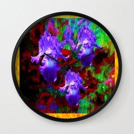 Antique Gold &  Purple Iris Red Poppies Garden  Art Wall Clock