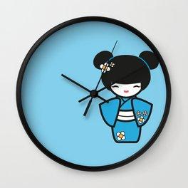 Blue Kokeshi Wall Clock